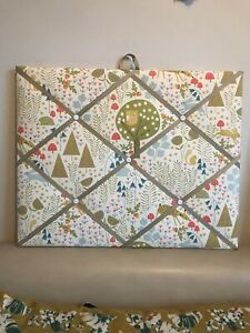 Hand Made Fabric Noticeboard In A Lovely Woodland Fabric