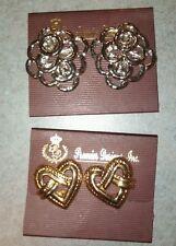 "Premier designs "" Favorite & Awestruck "" two pr clip earrings silver & gold-tone"