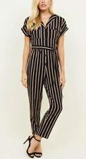 New Look - Petite Black Stripe Button Front Jumpsuit - Size 10 - BNWT