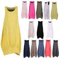 Ladies Italian Sleeveless Linen Dress Women's Side Ribbed Lagenlook Plain Top