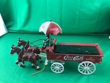"""VINTAGE COCA COLA CAST IRON HORSE DRAWN DELIVERY WAGON 13"""" LONG - 8"""" TALL"""