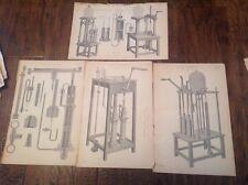 POMPE ad aria-Vecchio Antico stampe intorno al 1880 - 4 di loro!