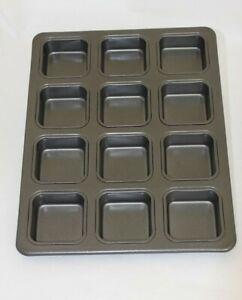 Square, 12 Cavity Mini Muffin Baking Tray, Cheesecake Pan, Cupcake Tin