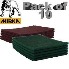 Mirka Mirlon Almohadillas de acabado abrasivos Scotch Brite Muy Fino Rojo/Verde GP X 10