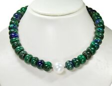 Beautiful Necklace in Gemstones Azurite-Malachite Button shape with Shell pearls