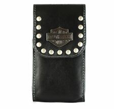 Harley Davidson Universal Vertical Leather Studded Pouch Holster for Flip Phones