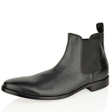 Mens leather slip on chelsea smart good year welted sole brown ankle boots shoes