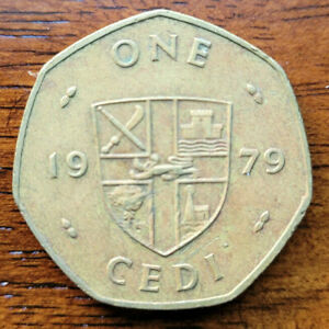 Ghana 1979, 1 Cedi, 7-sided brass coin, FAO, Cowry Shell, KM# 19