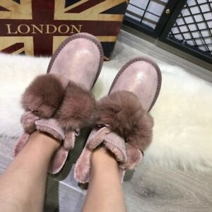 Womens Fashion Suede Leather Fur Lined Pompom Winter Warm Snow Boots Shoes BGHE