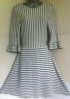 CATH KIDSTON navy&white stripe fit&flare stretch jersey dress frill sleeve 12VGC