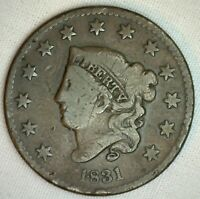 1831 Coronet Large Cent N8 US Copper Type Coin Very Good R5