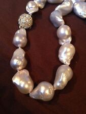 Lustrous Satin White Large Baroque Pearl Necklace / Choker