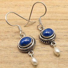 Lazuli & Pearl Beads Dangle Earrings 925 Silver Plated Unseen Navy Blue Lapis