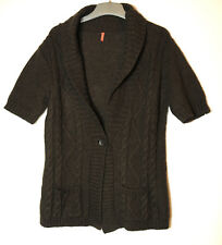 BROWN LADIES CASUAL CARDIGAN SIZE T3 UK 12-14 30%MOHAIR 60%ACRYLIC 10% WOOL