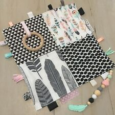 Taggie Blanket, Sensory 30x30cm Baby Tactile Teething, Monochrome, Pink & Mint