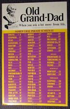 1982 OLD GRAND DAD Mardi Gras Parade Schedule 14x22 Placard FN+ 6.5 New Orleans