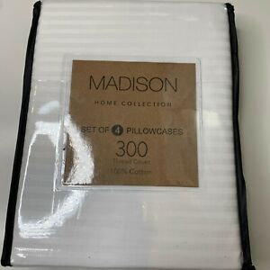 Madison home collection set of 4 pillowcase 300 thread count 100% cotton white