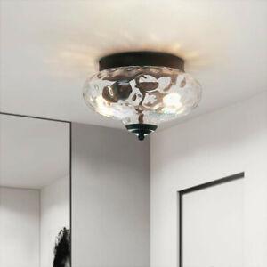 Modern Farmhouse 2-Light Semi Flush Mount Hammer Glass Ceiling Light Fixture