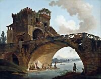 The Ponte Salario by Hubert Robert. City Art Reproductions on Canvas or Paper