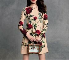 £1300 DOLCE & GABBANA Crepe ROSES Sicily Shift DRESS size 46