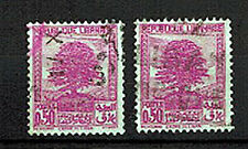 1937 - GRAND.LIBAN - LOT DE 2 TIMBRES OBL**CEDRE DU LIBAN**Yt.151