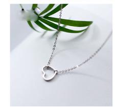 Schicke Halskette mit Herz-Anhänger Echt Sterling Silber 925 Geschenk Liebe Neu