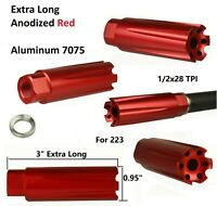 Aluminum 7075 Anodied Red Low Concussion 223 Muzzle Brake Compensator 1/2x28