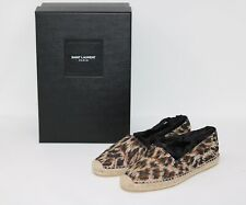 New YSL Yves Saint Laurent espadrilles Leopard Print 37.5 with laces