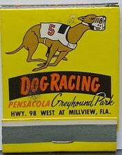 Pensacola Greyhound Park Front Strike Matchbook unstruck Dog Racing Florida FLA