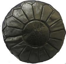 Fairtrade Handmade Moroccan Kasbah Ottoman Leather Pouffe Footstool 524 Black