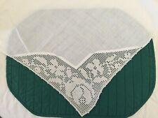 Antique White Linen Tablecloth 70 x 70 - Crochet Corners - Rose Pattern