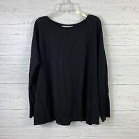 Ann Taylor Loft Women's Sweatshirt Top Size Large Solid Black Stretch Boxy