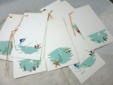 8 vintage tally cards with beach, nautical theme. Real mini shells. 67