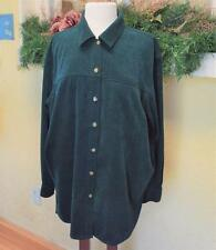 Saks Fifth Avenue 2X Plus Shirt Jacket Green Ultra Suede Salon Z Real Clothes
