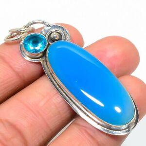 "Blue Chalcedony & Blue Topaz 925 Sterling 925 Silver Designer Pendant 2.3"" T8637"