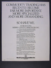 1981 Merrill Lynch Commodities 'Introducing' commodity trading vintage print Ad