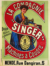 Sewing Machine Singer, 1900 Vintage French Advertising Giclee Canvas Print 22x29