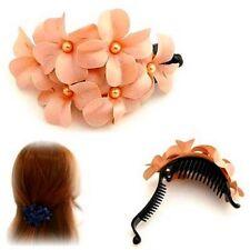 Barrette Fleurs Roses en tissu accessoire de cheveux Mode