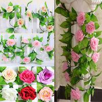Artificial Rose Flower Hanging Fake Silk Hot Ivy Vine Wedding Garland Decor