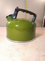 Vintage Avocado Sears and Roebuck 3 quart Tea Kettle