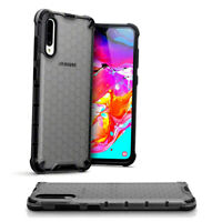 Samsung Galaxy A70 Shockproof  Fitted Case Bumper Honeycomb SMOKE BLACK