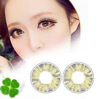 1 Pair Contact Lenses Color Soft Big Eye UV Protection Cosmetic Gray Clover AH