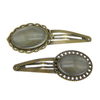 1pc Bronze Blank Bezel Setting Base Glass Cameo Cab Hair Clips Hair Accessories