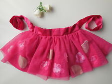 Baby Girl Pink Tulle Tutu Skirt Clothes Flowers Ribbon Tie Size 00 Fits 3-6 mths