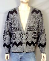 vtg 80s 90s Barnaby men's Gray/Black Geometric Ugly Cosby Sweater Cardigan sz L