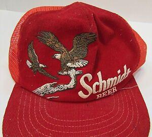 Vintage 1980's Schmidt Beer Bald Eagles Red Corduroy Mesh Back Ball Cap FREE SH