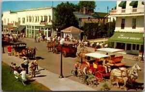 Mackinac Island, Michigan Postcard MAIN STREET Downtown Scene Horse Carts 1960s