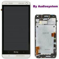 DISPLAY LCD TOUCH SCREEN per HTC ONE M7 801N VETRO +FRAME CORNICE SCHERMO GRIGIO