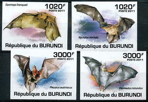 Burundi 2011 Imperf 4v, Bats, Flying Mammals