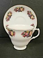 Queen Anne Fine Bone China Cup & Saucer England Fruit Apple Pear Grapes Berries
